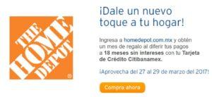 Home Depot Promoción Mes Gratis con Banamex