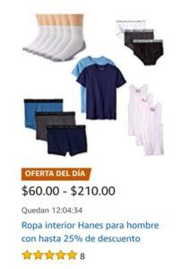 Amazon Oferta Ropa Interior Hanes para Hombre