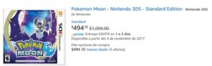 Amazon Oferta Pokemon Moon