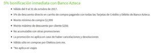 Elektra Bonificación Banco Azteca