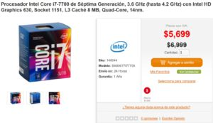 PC en Línea Oferta Procesador Intel Core i7-7700
