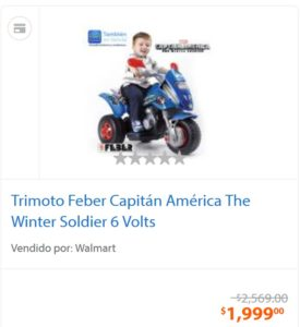 Walmart Oferta Trimoto Capitán América