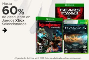 Soriana Oferta Juegos de Xbox Seleccionados