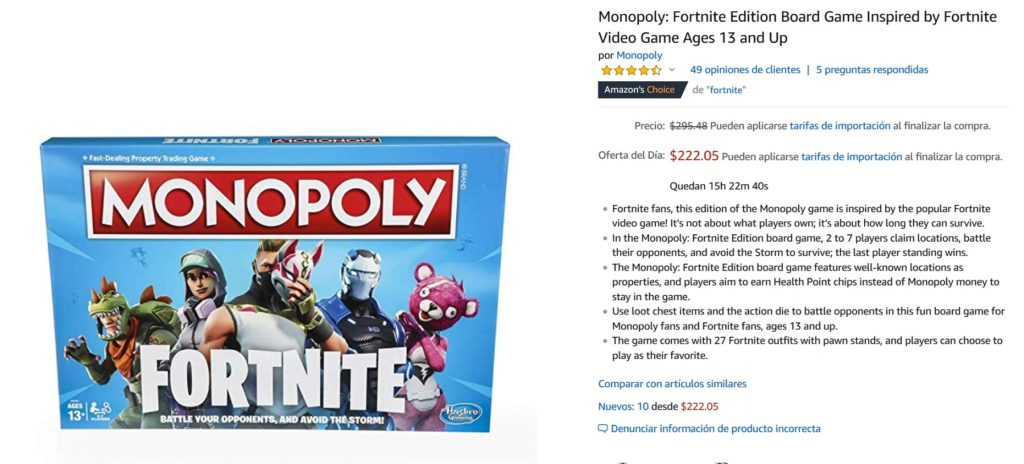Amazon Oferta Monopoly Fortnite