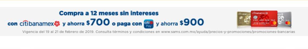 Sam's Club Promoción Citibanamex Febrero 20