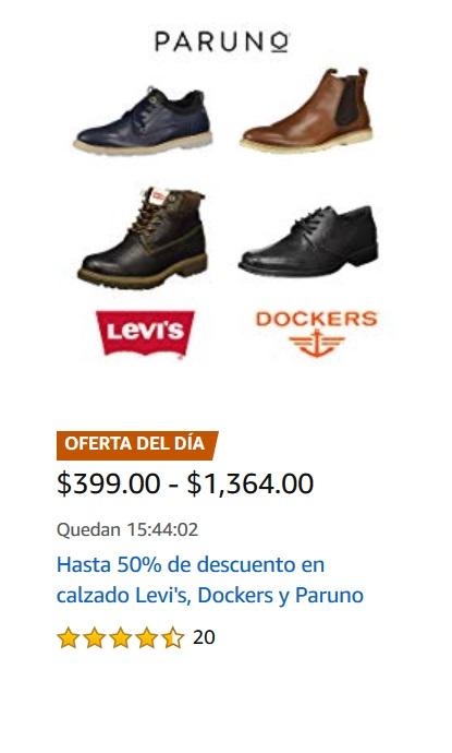 Amazon Oferta Calzado Levi's, Dockers y Paruno