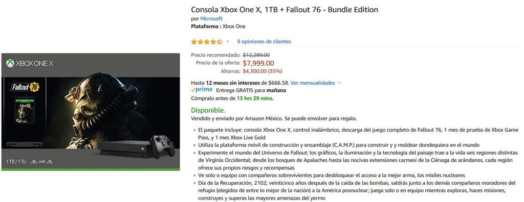 Amazon Oferta Consola Xbox One X