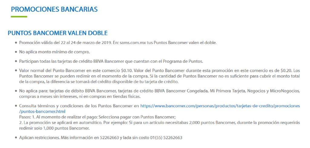 Sam's Club Promoción Puntos Bancomer