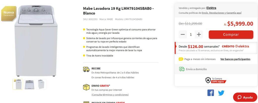 Eletra Oferta Lavadora Mabe