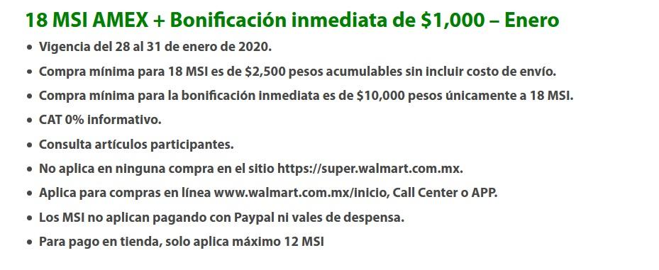 Walmart Promoción American Express