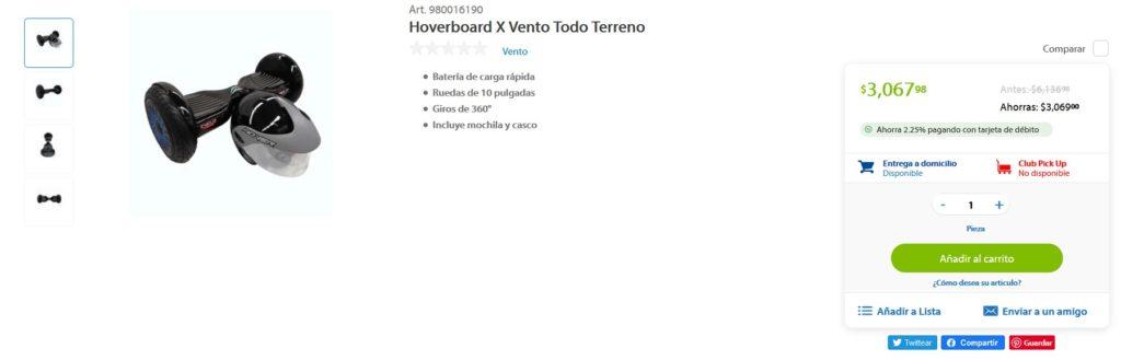 Sam's Club Oferta Hoverboard Vento