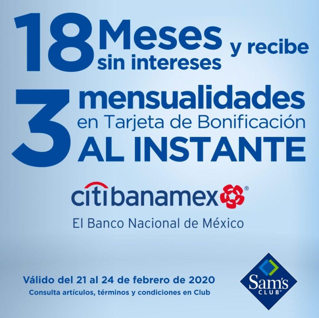 Sam's Club Promoción Bonificación Citibanamex