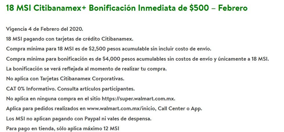 Walmart Promoción Citibanamex Febrero 4