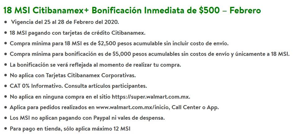 Walmart Promoción Citibanamex Febrero 26