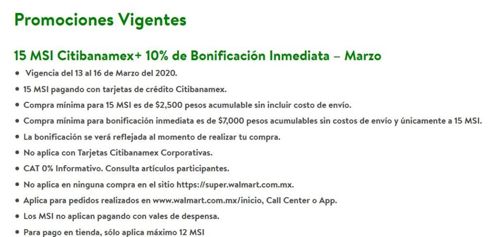Walmart Promoción Citibanamex