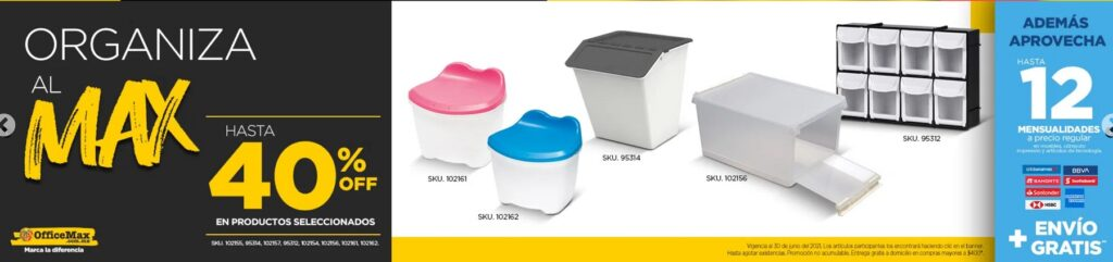 OfficeMax Oferta Organizadores y Cajas